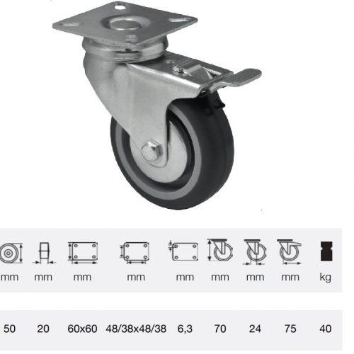 BDPE 0501 1001, Forgó-fékes kerék, 50 mm, 40 kg teherbírás, talpas felfogatás