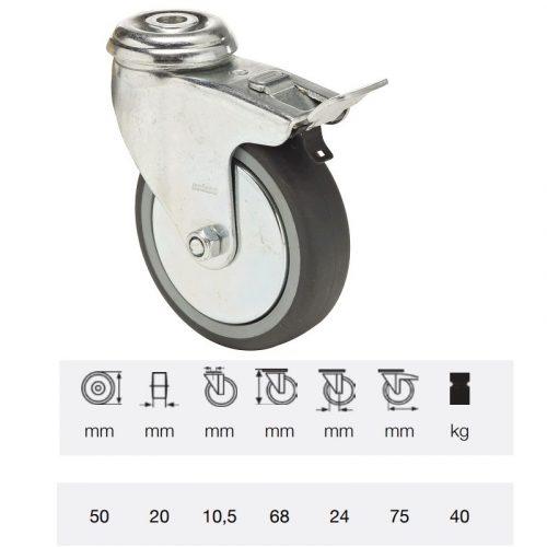 BDPE 0505 1001, Forgó-fékes kerék, 50 mm, 40 kg teherbírás, furatos felfogatás