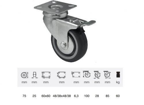 BDPE 0751 1001, Forgó-fékes kerék, 75 mm, 60 kg teherbírás, talpas felfogatás