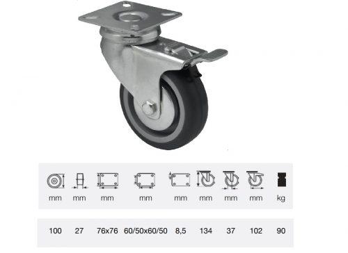 BDPE 1001 1001, Forgó-fékes kerék, 100 mm, 90 kg teherbírás, talpas felfogatás