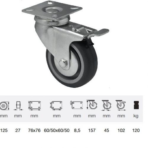BDPE 1251 1001, Forgó-fékes kerék, 125 mm, 120 kg teherbírás, talpas felfogatás