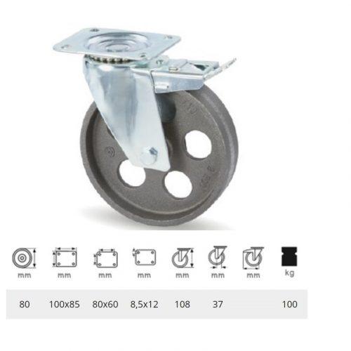 BLCN 0802 1000, Forgó-fékes kerék, horganyzott villába szerelve, Öntöttvas kerék, magas hőállósággal, 80 mm, 100 kg teherbírás, +500 Celsius