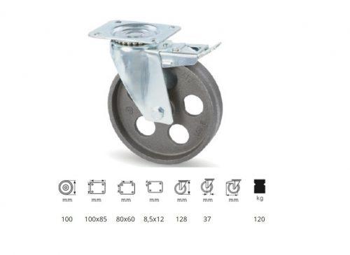 BLCN 1002 1000, Forgó-fékes kerék, horganyzott villába szerelve, Öntöttvas kerék, magas hőállósággal, 100 mm, 120 kg teherbírás, +500 Celsius