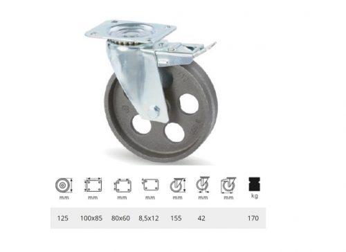 BLCN 1252 1000, Forgó-fékes kerék, horganyzott villába szerelve, Öntöttvas kerék, magas hőállósággal, 125 mm, 170 kg teherbírás, +500 Celsius