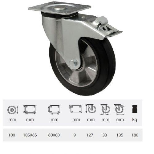 BPAB 1001 6150, Forgó-fékes kerék, horganyzott villába szerelve, fekete tömörgumi futófelülettel, 100 mm, 180 kg, talpas felfogatás