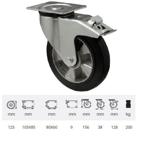 BPAB 1251 6150, Forgó-fékes kerék, horganyzott villába szerelve, fekete tömörgumi futófelülettel, 125 mm, 200 kg, talpas felfogatás