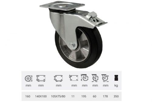 BPAB 1603 6150, Forgó-fékes kerék, horganyzott villába szerelve, fekete tömörgumi futófelülettel, 160 mm, 350 kg, talpas felfogatás