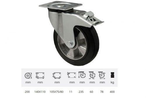 BPAB 2003 6150, Forgó-fékes kerék, horganyzott villába szerelve, fekete tömörgumi futófelülettel, 200 mm, 400 kg, talpas felfogatás