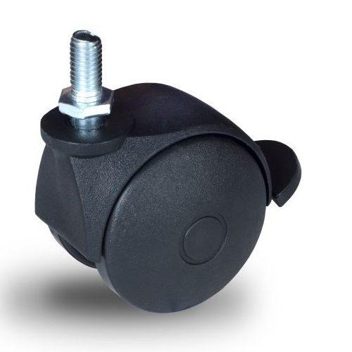 BPN 050 M10x15 Forgó-Fékes kerék, műanyag futófelület, 50 mm, 40 kg teherbírás, M10x15 menetes szárral