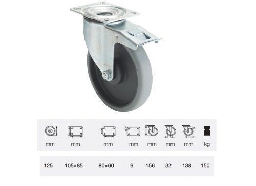 BPPE 1251 5100, Forgó-fékes kerék, horganyzott villába szerelve, prémium ECOFORMA tömörgumi futófelület, 125 mm, 150 kg teherbírás, talpas felfogatás