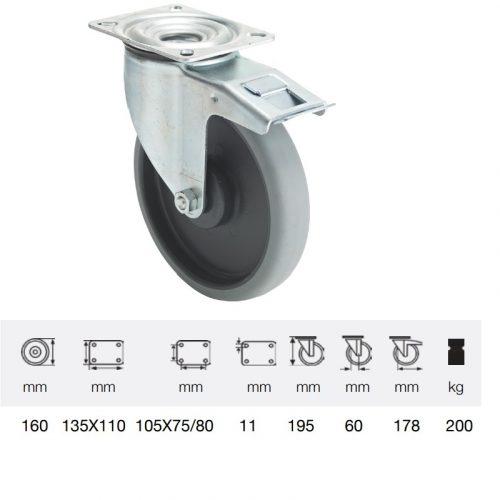 BPPE 1603 5100, Forgó-fékes kerék, horganyzott villába szerelve, prémium ECOFORMA tömörgumi futófelület, 160 mm, 200 kg teherbírás, talpas felfogatás