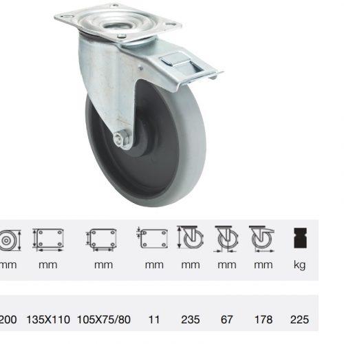 BPPE 2003 5100, Forgó-fékes kerék, horganyzott villába szerelve, prémium ECOFORMA tömörgumi futófelület, 200 mm, 225 kg teherbírás, talpas felfogatás