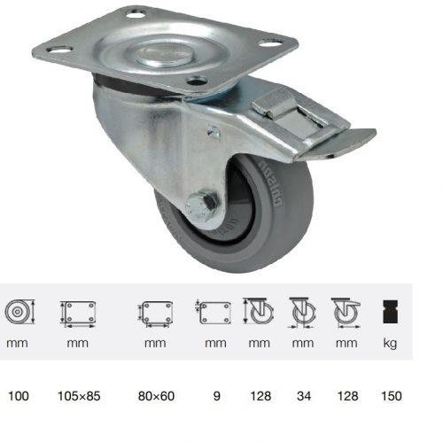 BPPF 1001 5100, Forgó-fékes kerék, horganyzott villába szerelve, prémium PERFORMA tömörgumi futófelület, 100 mm, 150 kg teherbírás, talpas felfogatás