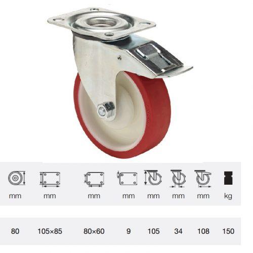 BPPU 0801 5100, Forgó-fékes kerék, Poluretán futófelülettel, horganyzott villába szerelve, 80 mm, 150 kg teherbírás, talpas felfogatás