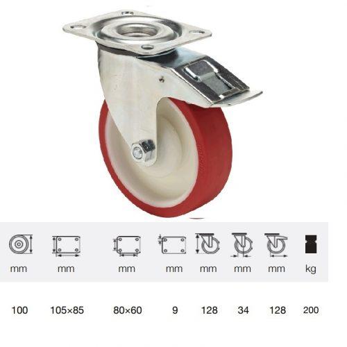 BPPU 1001 5100, Forgó-fékes kerék, Poluretán futófelülettel, horganyzott villába szerelve, 100 mm, 150 kg teherbírás, talpas felfogatás