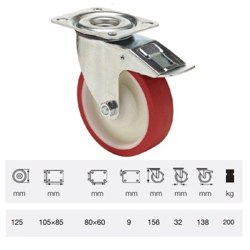 BPPU 1251 5100, Forgó-fékes kerék, Poluretán futófelülettel, horganyzott villába szerelve, 125 mm, 150 kg teherbírás, talpas felfogatás
