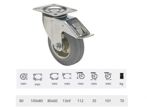 BPSG 0801 2100 L, Forgó-Fékes kerék, szürke (nyommentes) gumi futófelület, 80 mm, 70 kg teherbírás, talpas felfogatás
