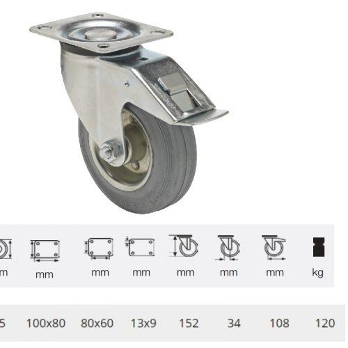 BPSG 1251 2100 L, Forgó-Fékes kerék, szürke (nyommentes) gumi futófelület, 125 mm, 120 kg teherbírás, talpas felfogatás