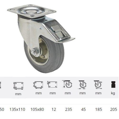 BPSG 2003 2100 W, Forgó-Fékes kerék, szürke (nyommentes) gumi futófelület, 200 mm, 205 kg teherbírás, talpas felfogatás