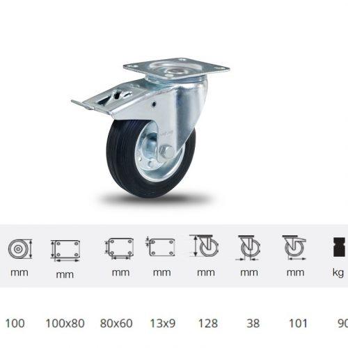 BPSM 1001 2100 L, Forgó-Fékes kerék, fekete gumi futófelület, 100 mm, 90 kg teherbírás, talpas felfogatás