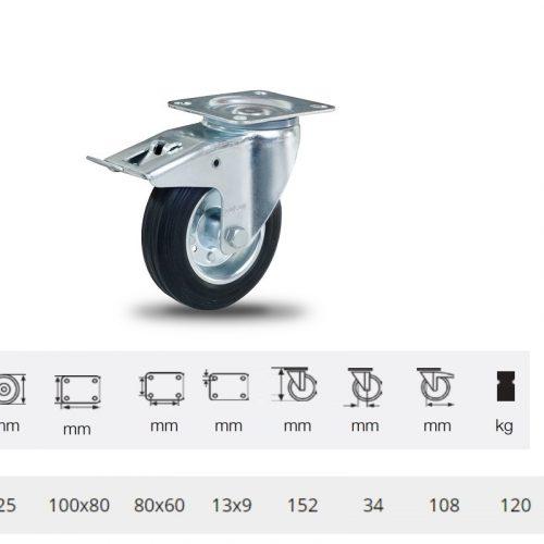 BPSM 1251 2100 L, Forgó-Fékes kerék, fekete gumi futófelület, 125 mm, 120 kg teherbírás, talpas felfogatás