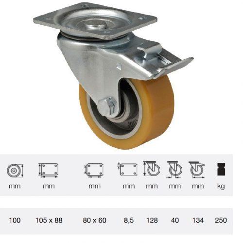 BTAU 1002 6150, Forgó-Fékes kerék, Poluretán futófelülettel, horganyzott villába szerelve, 100 mm, 200 kg teherbírás, talpas felfogatás
