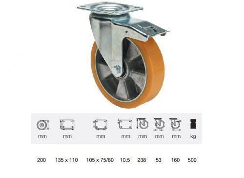 BTAU 2003 6440, Forgó-Fékes kerék, Poluretán futófelülettel, horganyzott villába szerelve, 200 mm, 500 kg teherbírás, talpas felfogatás