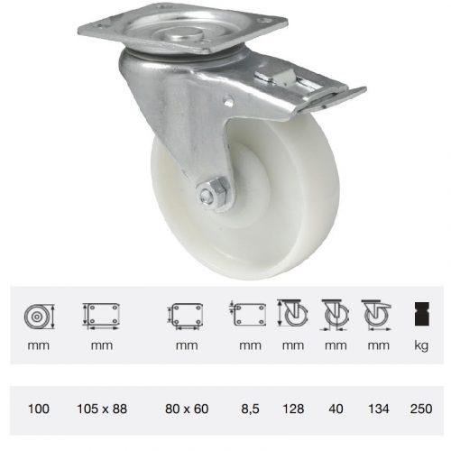 BTPN 1002 5100, Forgó-Fékes kerék, (poliamid) műanyag futófelület, horganyzott villába szerelve, 100 mm, 250 kg teherbírás, talpas felfogatás
