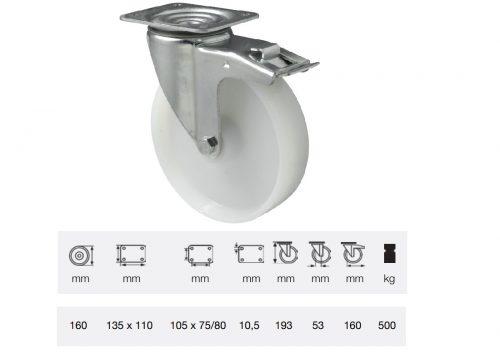 BTPN 1603 6100, Forgó-Fékes kerék, (poliamid) műanyag futófelület, horganyzott villába szerelve, 160 mm, 500 kg teherbírás, talpas felfogatás