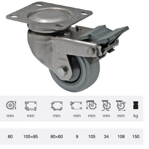 BXPF 0801 7100, Forgó-fékes kerék, rozsdamentes villába szerelve, prémium PERFORMA tömörgumi futófelület, 80 mm, 150 kg teherbírás, talpas felfogatás