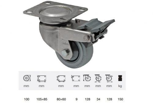BXPF 1001 7100, Forgó-fékes kerék, rozsdamentes villába szerelve, prémium PERFORMA tömörgumi futófelület, 100 mm, 150 kg teherbírás, talpas felfogatás