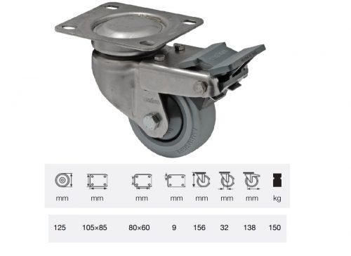 BXPF 1251 7100, Forgó-fékes kerék, rozsdamentes villába szerelve, prémium PERFORMA tömörgumi futófelület, 125 mm, 150 kg teherbírás, talpas felfogatás