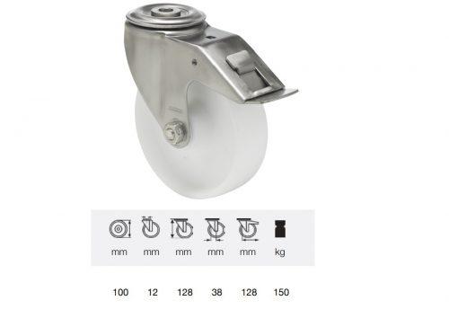 BXPN 1005 1000, Forgó-fékes kerék, (poliamid) műanyag futófelület, rozsdamentes villába szerelve, 100 mm, 150 kg teherbírás, furatos felfogatás