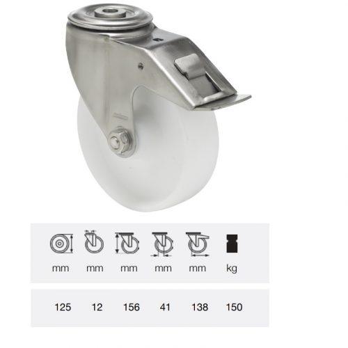 BXPN 1255 1000, Forgó-fékes kerék, (poliamid) műanyag futófelület, rozsdamentes villába szerelve, 125 mm, 150 kg teherbírás, furatos felfogatás