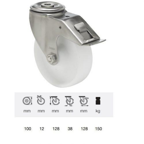 BXPP 1005 1000, Forgó-fékes kerék, (polipropilén) műanyag futófelület, horganyzott villába szerelve, 100 mm, 160 kg teherbírás, furatos felfogatás