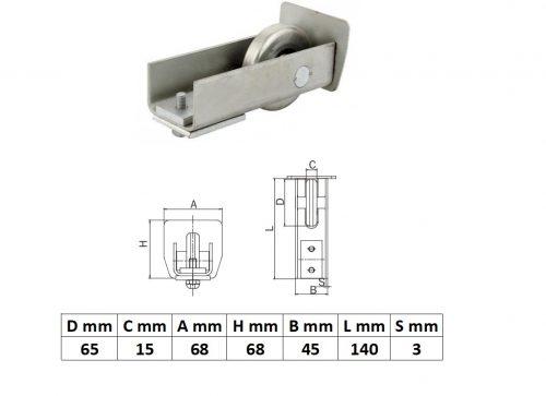 FF60x60, Felfutó görgő 60x60-as sínhez