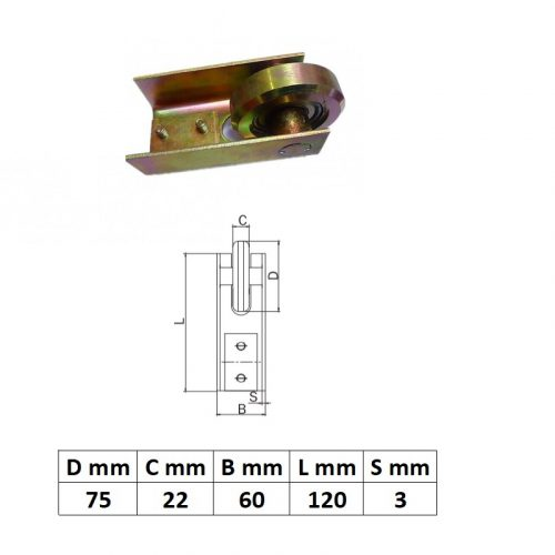 FF70x70, Felvezető görgő 70x70-es sínhez, réz színű