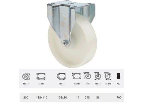 FHPN 2003 6000, Nagy teherbírású forgó kerék, (poliamid) műanyag futófelület, horganyzott villába szerelve, 200 mm, 900 kg teherbírás