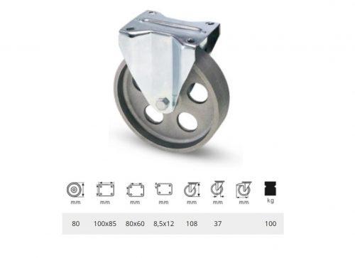 FLCN 0802 1000, Fix kerék, horganyzott villába szerelve, Öntöttvas kerék, magas hőállósággal, 80 mm, 100 kg teherbírás, +500 Celsius