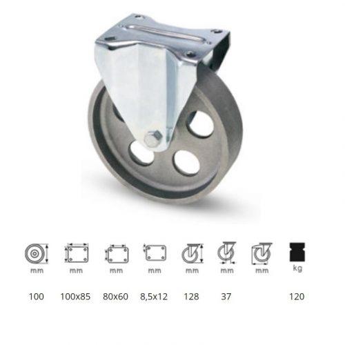 FLCN 1002 1000, Fix kerék, horganyzott villába szerelve, Öntöttvas kerék, magas hőállósággal, 100 mm, 120 kg teherbírás, +500 Celsius