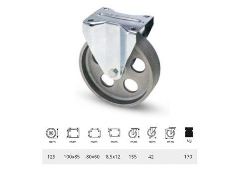 FLCN 1252 1000, Fix kerék, horganyzott villába szerelve, Öntöttvas kerék, magas hőállósággal, 125 mm, 170 kg teherbírás, +500 Celsius