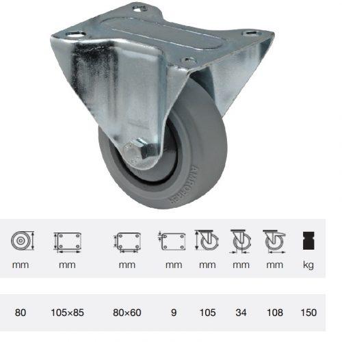 FPPF 0801 5000, Fix kerék, horganyzott villába szerelve, prémium PERFORMA tömörgumi futófelület, 80 mm, 150 kg teherbírás, talpas felfogatás
