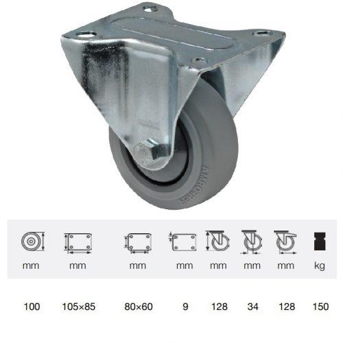 FPPF 1001 5000, Fix kerék, horganyzott villába szerelve, prémium PERFORMA tömörgumi futófelület, 100 mm, 150 kg teherbírás, talpas felfogatás
