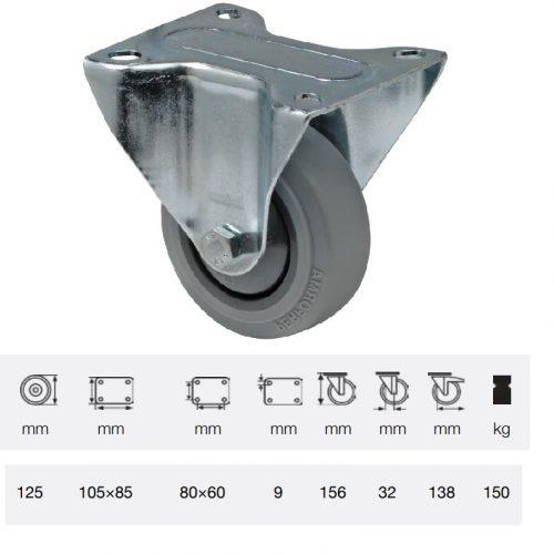 FPPF 1251 5000, Fix kerék, horganyzott villába szerelve, prémium PERFORMA tömörgumi futófelület, 125 mm, 150 kg teherbírás, talpas felfogatás