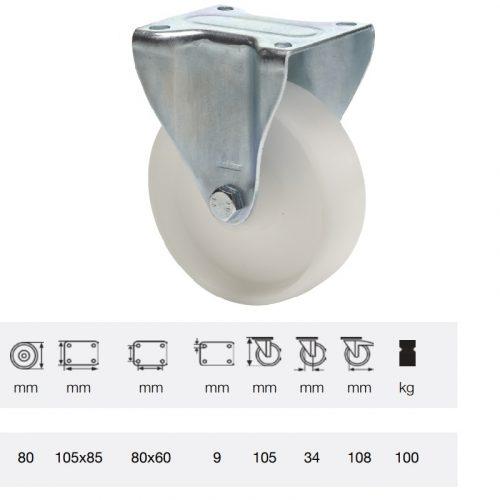 FPPP 0801 1000, Fix kerék, (polipropilén) műanyag futófelület, horganyzott villába szerelve, 80 mm, 150 kg teherbírás, talpas felfogatás