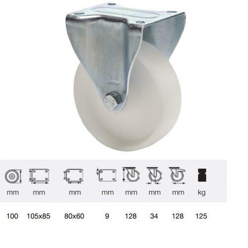 FPPP 1001 1000, Fix kerék, (polipropilén) műanyag futófelület, horganyzott villába szerelve, 100 mm, 150 kg teherbírás, talpas felfogatás