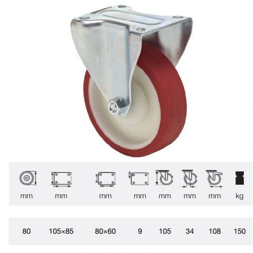 FPPU 0801 5100, Fix kerék, Poluretán futófelülettel, horganyzott villába szerelve, 80 mm, 150 kg teherbírás, talpas felfogatás