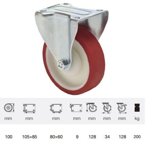 FPPU 1001 5100, Fix kerék, Poluretán futófelülettel, horganyzott villába szerelve, 100 mm, 150 kg teherbírás, talpas felfogatás