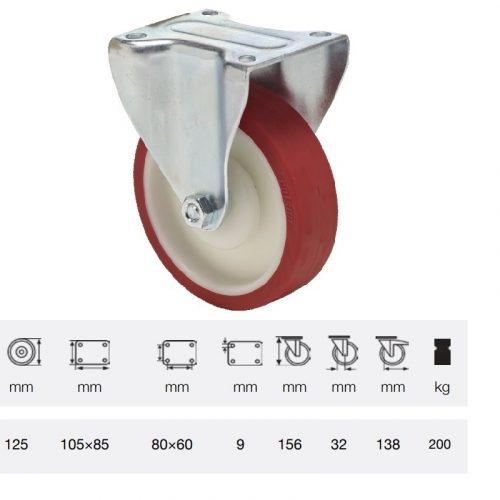 FPPU 1251 5100, Fix kerék, Poluretán futófelülettel, horganyzott villába szerelve, 125 mm, 150 kg teherbírás, talpas felfogatás