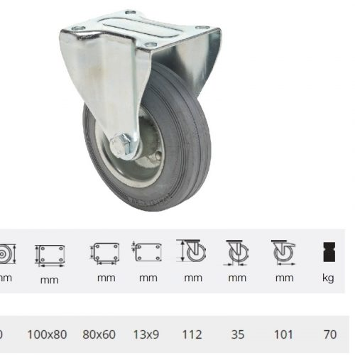 FPSG 0801 2000 L, Fix kerék, szürke (nyommentes) gumi futófelület, 80 mm, 70 kg teherbírás, talpas felfogatás